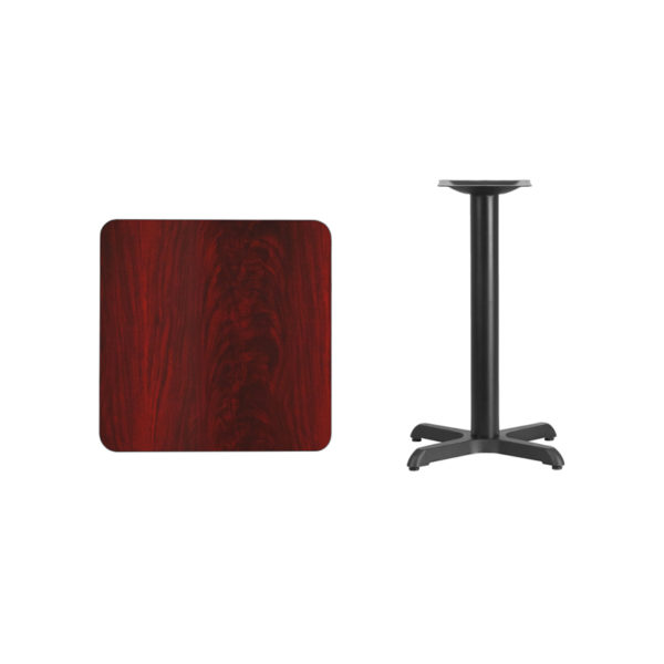 Lowest Price 24'' Square Mahogany Laminate Table Top with 22'' x 22'' Table Height Base