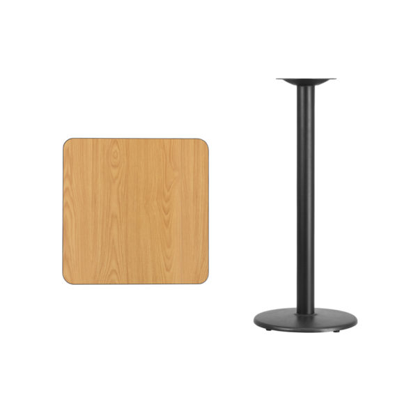 Lowest Price 24'' Square Natural Laminate Table Top with 18'' Round Bar Height Table Base