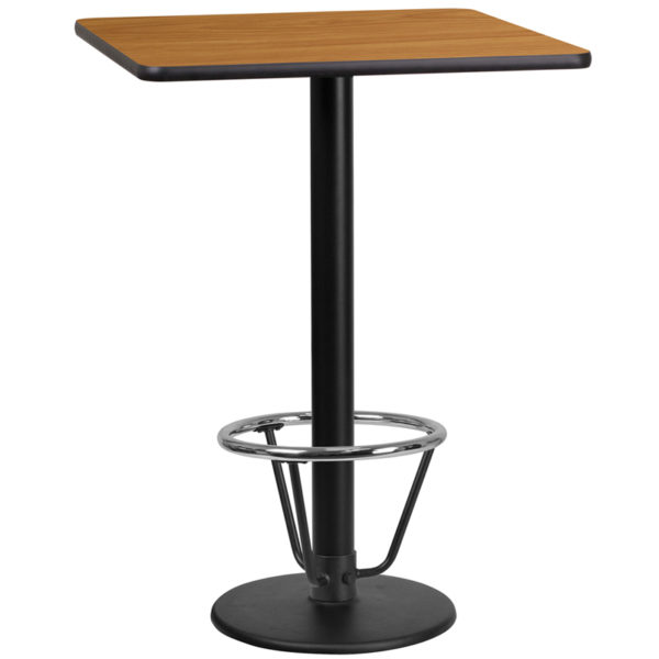 Wholesale 24'' Square Natural Laminate Table Top with 18'' Round Bar Height Table Base and Foot Ring