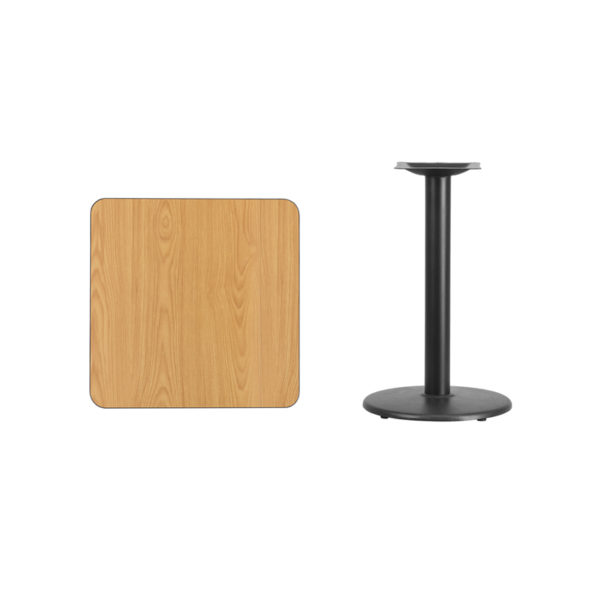 Lowest Price 24'' Square Natural Laminate Table Top with 18'' Round Table Height Base