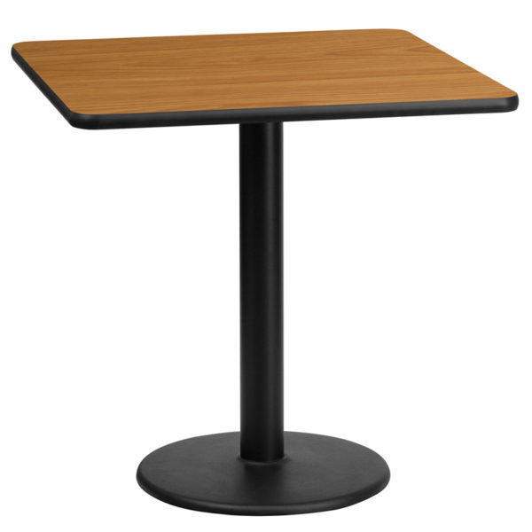 Wholesale 24'' Square Natural Laminate Table Top with 18'' Round Table Height Base