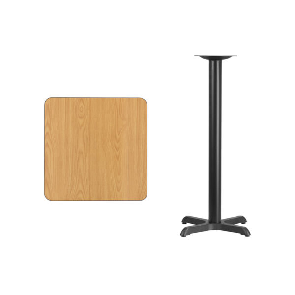 Lowest Price 24'' Square Natural Laminate Table Top with 22'' x 22'' Bar Height Table Base