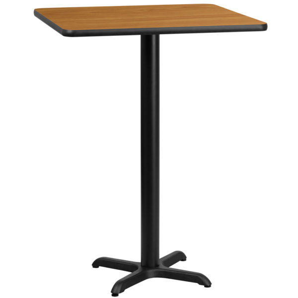 Wholesale 24'' Square Natural Laminate Table Top with 22'' x 22'' Bar Height Table Base