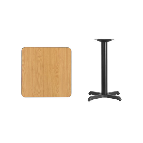Lowest Price 24'' Square Natural Laminate Table Top with 22'' x 22'' Table Height Base