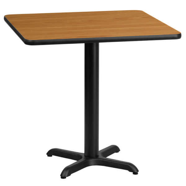 Wholesale 24'' Square Natural Laminate Table Top with 22'' x 22'' Table Height Base