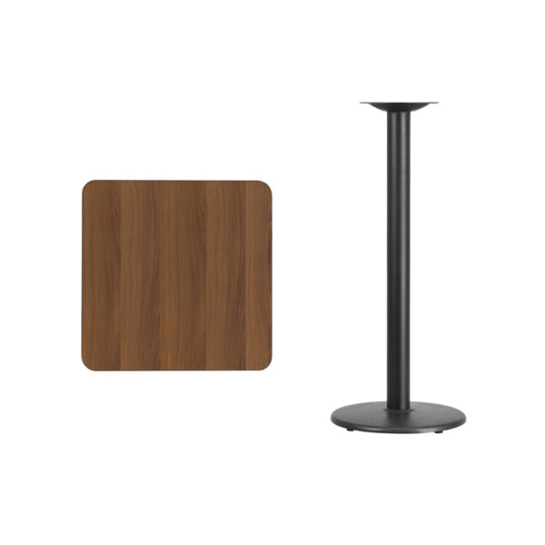 Lowest Price 24'' Square Walnut Laminate Table Top with 18'' Round Bar Height Table Base
