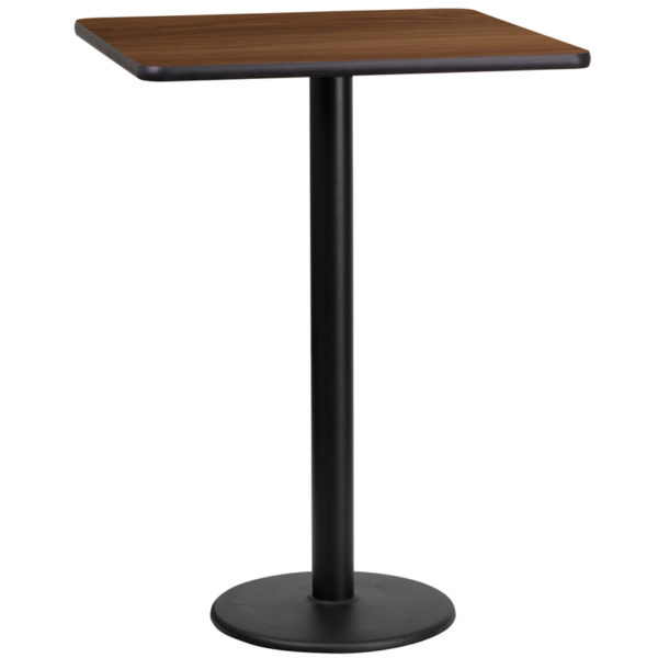Wholesale 24'' Square Walnut Laminate Table Top with 18'' Round Bar Height Table Base
