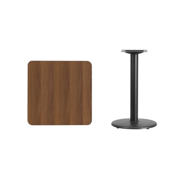 Lowest Price 24'' Square Walnut Laminate Table Top with 18'' Round Table Height Base