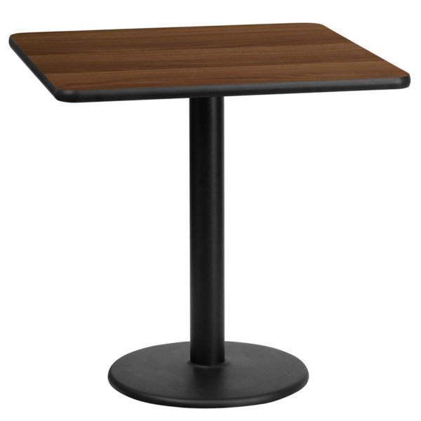Wholesale 24'' Square Walnut Laminate Table Top with 18'' Round Table Height Base