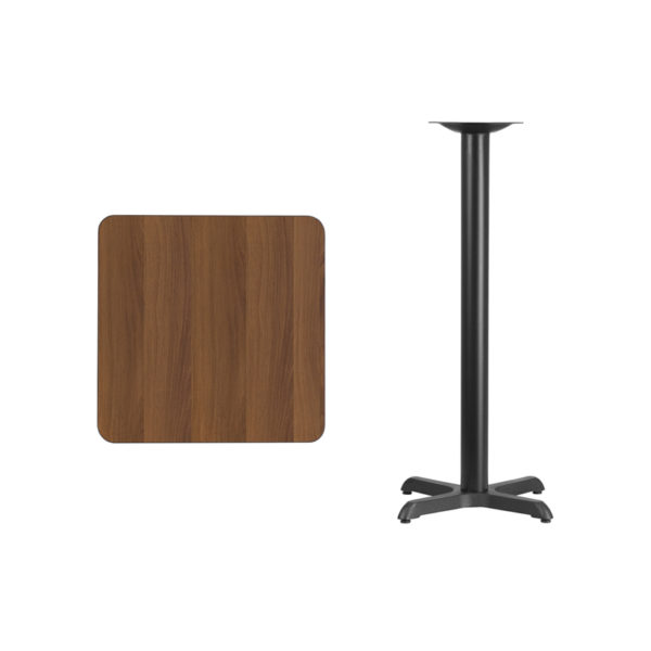 Lowest Price 24'' Square Walnut Laminate Table Top with 22'' x 22'' Bar Height Table Base