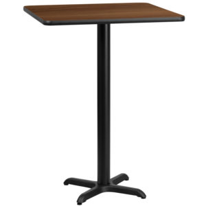 Wholesale 24'' Square Walnut Laminate Table Top with 22'' x 22'' Bar Height Table Base