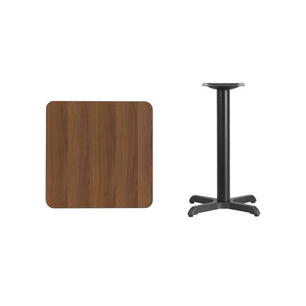 Lowest Price 24'' Square Walnut Laminate Table Top with 22'' x 22'' Table Height Base