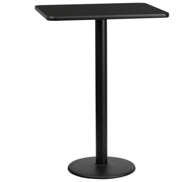 Wholesale 24'' x 30'' Rectangular Black Laminate Table Top with 18'' Round Bar Height Table Base