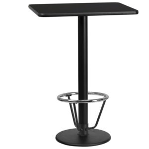 Wholesale 24'' x 30'' Rectangular Black Laminate Table Top with 18'' Round Bar Height Table Base and Foot Ring