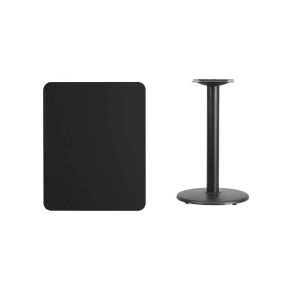 Lowest Price 24'' x 30'' Rectangular Black Laminate Table Top with 18'' Round Table Height Base