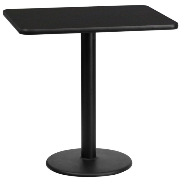 Wholesale 24'' x 30'' Rectangular Black Laminate Table Top with 18'' Round Table Height Base