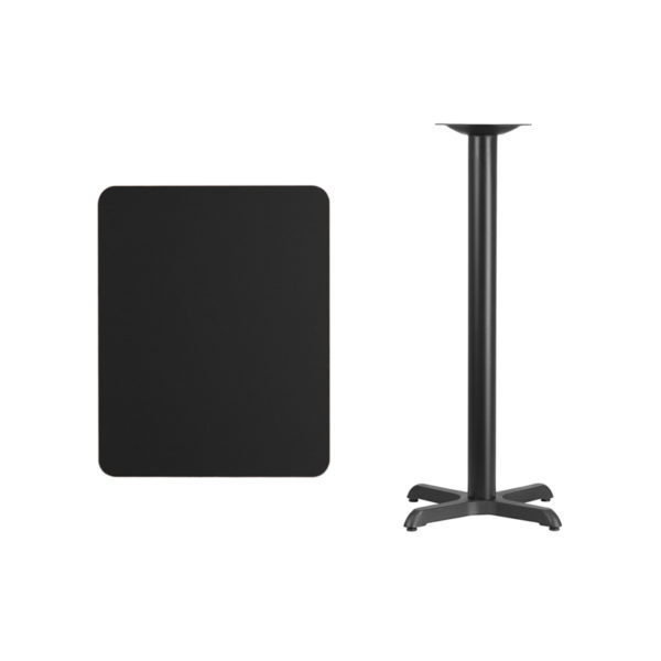 Lowest Price 24'' x 30'' Rectangular Black Laminate Table Top with 22'' x 22'' Bar Height Table Base
