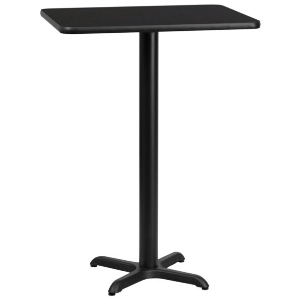 Wholesale 24'' x 30'' Rectangular Black Laminate Table Top with 22'' x 22'' Bar Height Table Base