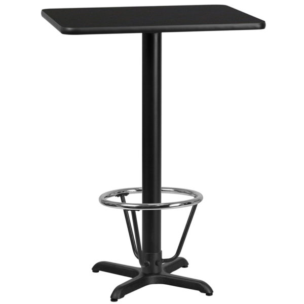 Wholesale 24'' x 30'' Rectangular Black Laminate Table Top with 22'' x 22'' Bar Height Table Base and Foot Ring