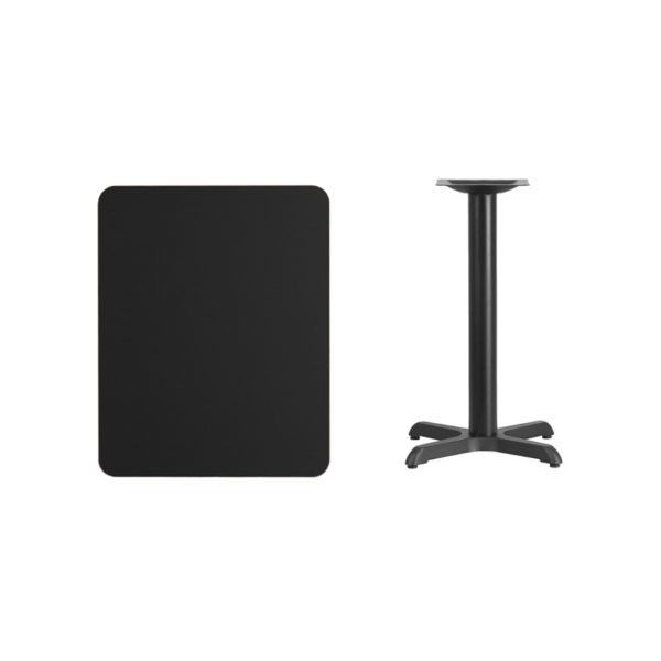 Lowest Price 24'' x 30'' Rectangular Black Laminate Table Top with 22'' x 22'' Table Height Base