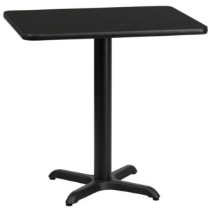 Wholesale 24'' x 30'' Rectangular Black Laminate Table Top with 22'' x 22'' Table Height Base