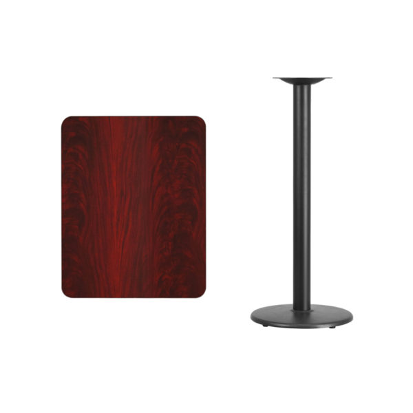Lowest Price 24'' x 30'' Rectangular Mahogany Laminate Table Top with 18'' Round Bar Height Table Base