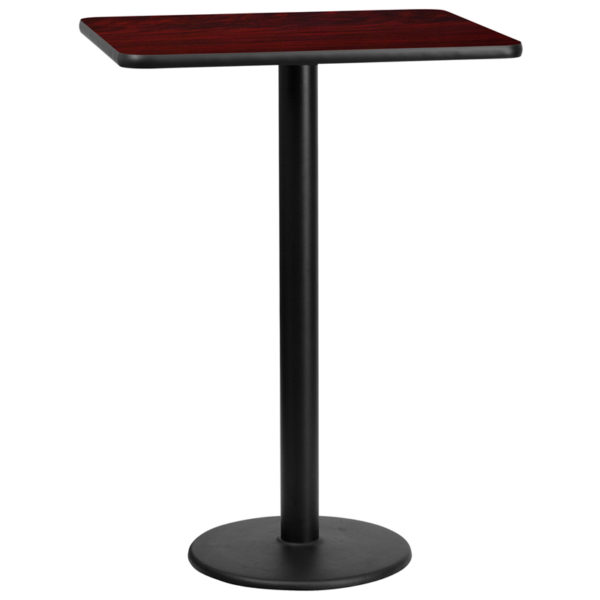Wholesale 24'' x 30'' Rectangular Mahogany Laminate Table Top with 18'' Round Bar Height Table Base