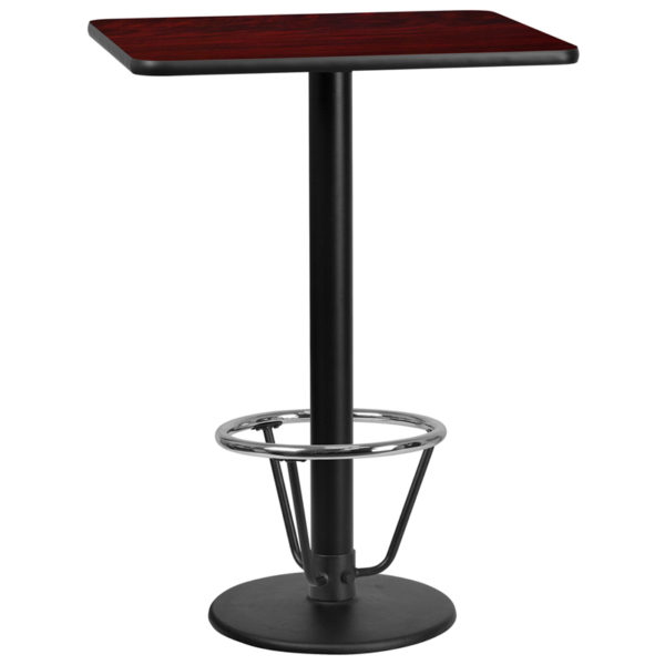 Wholesale 24'' x 30'' Rectangular Mahogany Laminate Table Top with 18'' Round Bar Height Table Base and Foot Ring