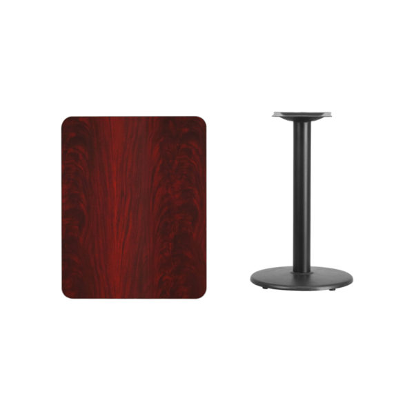 Lowest Price 24'' x 30'' Rectangular Mahogany Laminate Table Top with 18'' Round Table Height Base