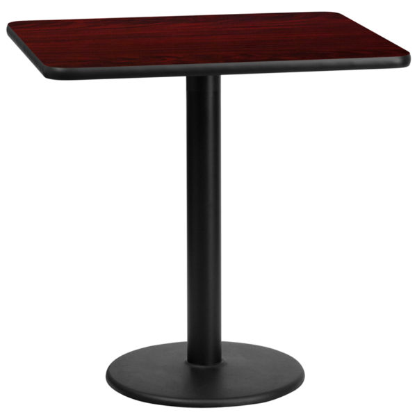 Wholesale 24'' x 30'' Rectangular Mahogany Laminate Table Top with 18'' Round Table Height Base