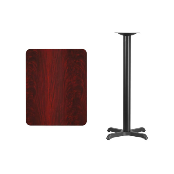 Lowest Price 24'' x 30'' Rectangular Mahogany Laminate Table Top with 22'' x 22'' Bar Height Table Base