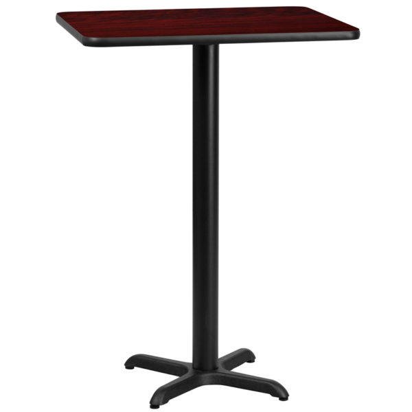 Wholesale 24'' x 30'' Rectangular Mahogany Laminate Table Top with 22'' x 22'' Bar Height Table Base