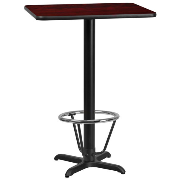 Wholesale 24'' x 30'' Rectangular Mahogany Laminate Table Top with 22'' x 22'' Bar Height Table Base and Foot Ring