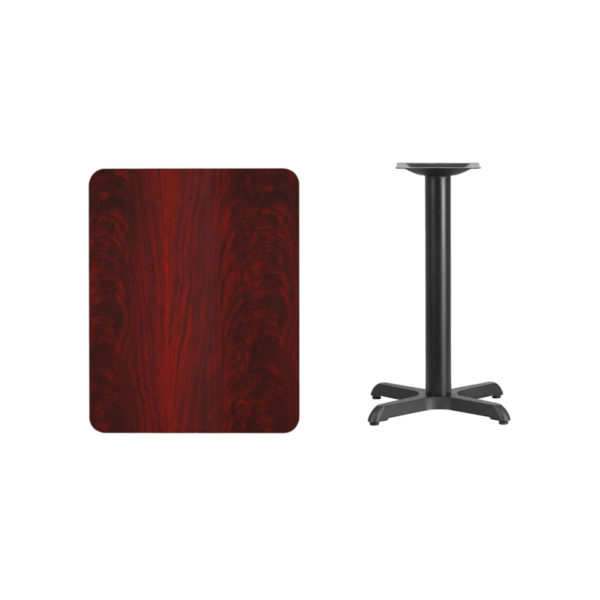 Lowest Price 24'' x 30'' Rectangular Mahogany Laminate Table Top with 22'' x 22'' Table Height Base