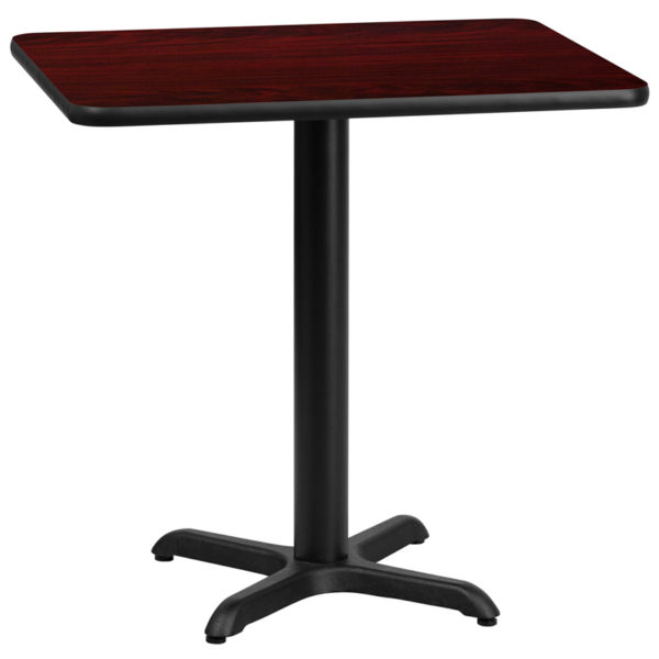 Wholesale 24'' x 30'' Rectangular Mahogany Laminate Table Top with 22'' x 22'' Table Height Base