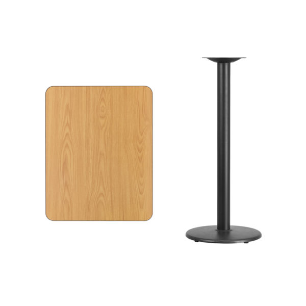Lowest Price 24'' x 30'' Rectangular Natural Laminate Table Top with 18'' Round Bar Height Table Base