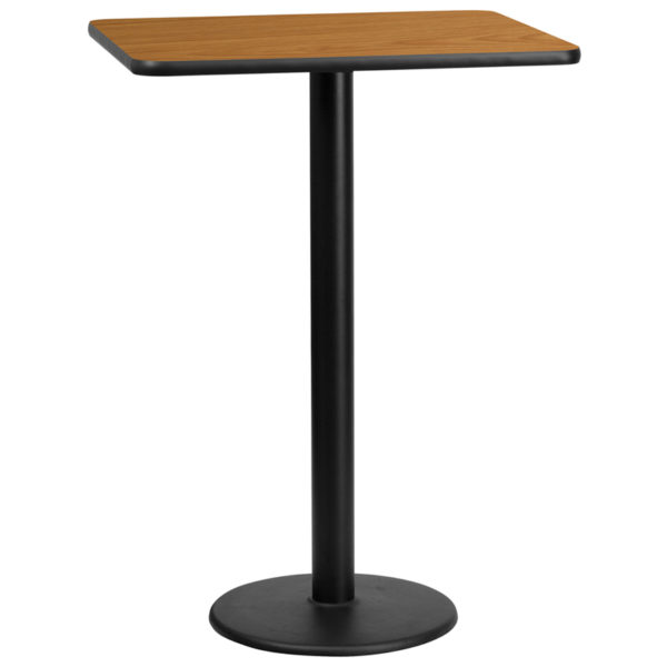 Wholesale 24'' x 30'' Rectangular Natural Laminate Table Top with 18'' Round Bar Height Table Base