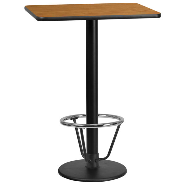 Wholesale 24'' x 30'' Rectangular Natural Laminate Table Top with 18'' Round Bar Height Table Base and Foot Ring