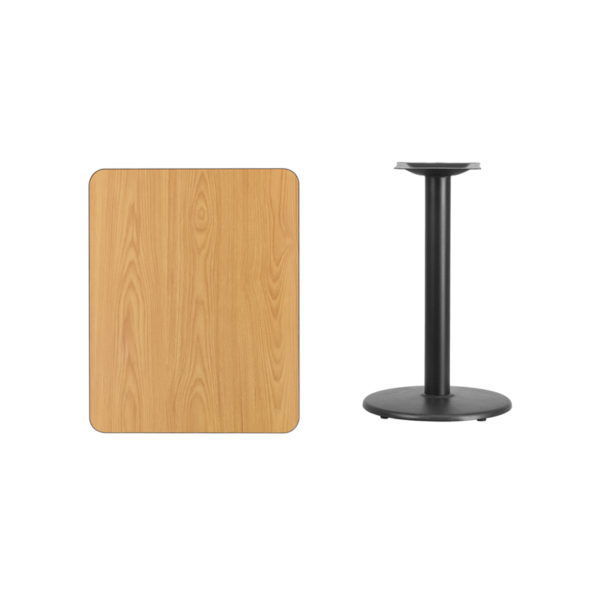 Lowest Price 24'' x 30'' Rectangular Natural Laminate Table Top with 18'' Round Table Height Base