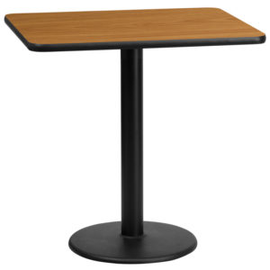 Wholesale 24'' x 30'' Rectangular Natural Laminate Table Top with 18'' Round Table Height Base