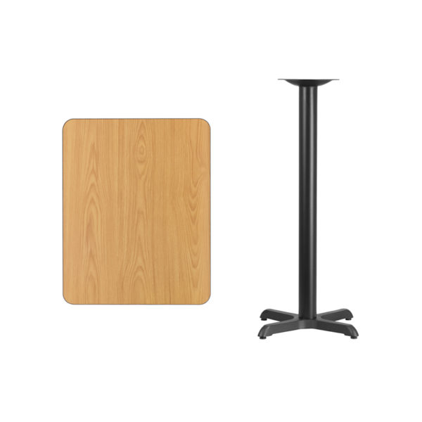 Lowest Price 24'' x 30'' Rectangular Natural Laminate Table Top with 22'' x 22'' Bar Height Table Base