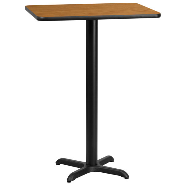Wholesale 24'' x 30'' Rectangular Natural Laminate Table Top with 22'' x 22'' Bar Height Table Base