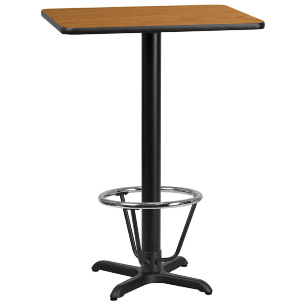 Wholesale 24'' x 30'' Rectangular Natural Laminate Table Top with 22'' x 22'' Bar Height Table Base and Foot Ring