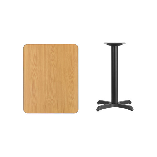 Lowest Price 24'' x 30'' Rectangular Natural Laminate Table Top with 22'' x 22'' Table Height Base