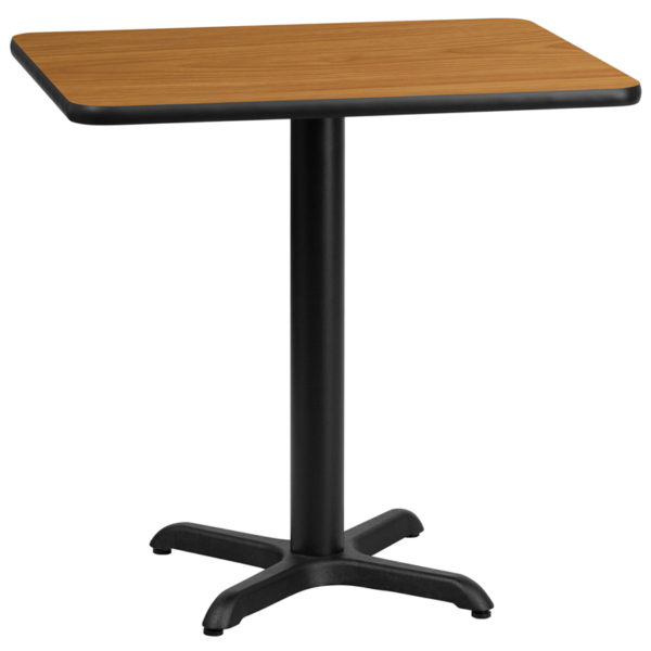 Wholesale 24'' x 30'' Rectangular Natural Laminate Table Top with 22'' x 22'' Table Height Base
