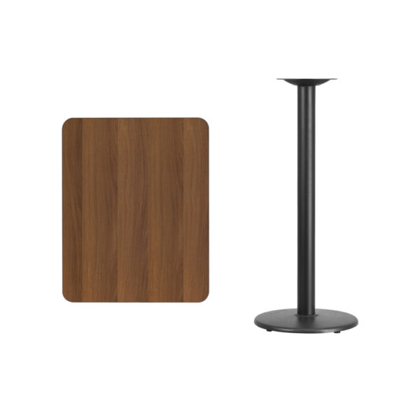 Lowest Price 24'' x 30'' Rectangular Walnut Laminate Table Top with 18'' Round Bar Height Table Base