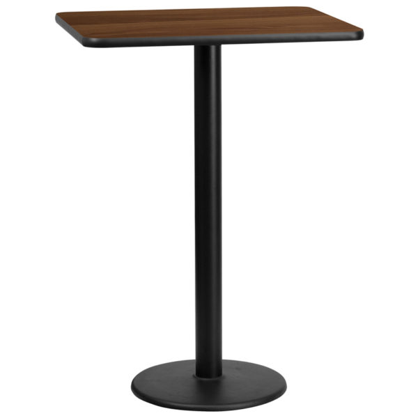 Wholesale 24'' x 30'' Rectangular Walnut Laminate Table Top with 18'' Round Bar Height Table Base