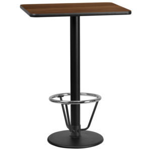 Wholesale 24'' x 30'' Rectangular Walnut Laminate Table Top with 18'' Round Bar Height Table Base and Foot Ring