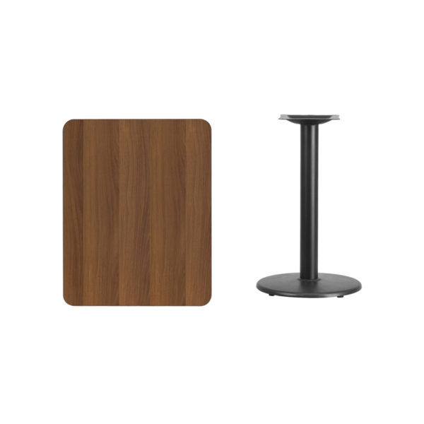 Lowest Price 24'' x 30'' Rectangular Walnut Laminate Table Top with 18'' Round Table Height Base
