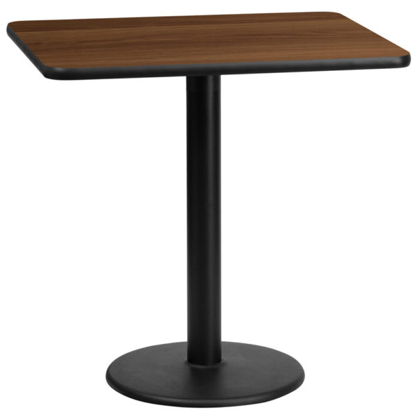 Wholesale 24'' x 30'' Rectangular Walnut Laminate Table Top with 18'' Round Table Height Base